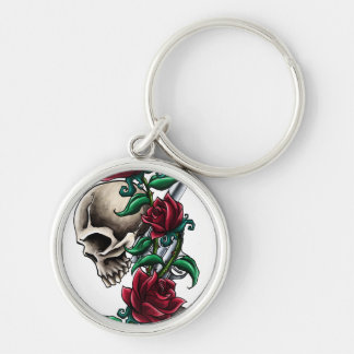 Western Skull with Red Roses and Revolver Pistol Silver-Colored Round Keychain