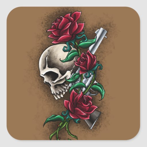 Western Skull with Red Roses and Revolver Pistol Square Sticker