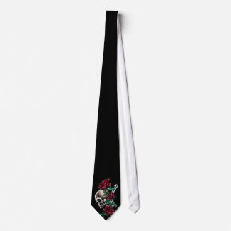 Western Skull with Red Roses and Revolver Pistol Tie