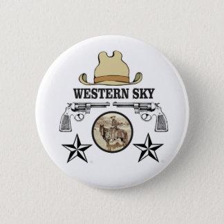 western sky cowboy art 2 inch round button