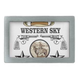 western sky cowboy art belt buckles