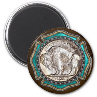 Western Style Buffalo Nickle 2 Inch Round Magnet