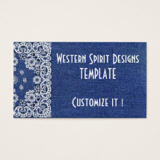 Western style Dark Blue Denim Biz Cards