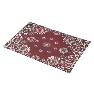 Western Style Red Bandana Dinnerware setting Placemat