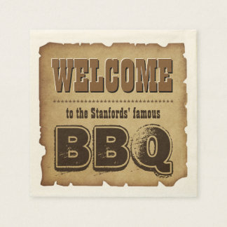 Western Style Welcome to our BBQ (customizable) Paper Napkins