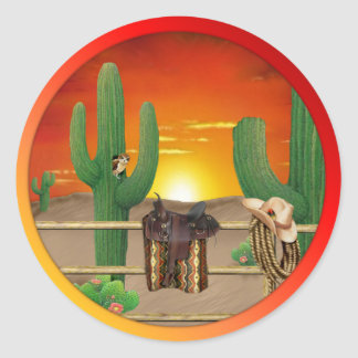 Western Sunrise Classic Round Sticker
