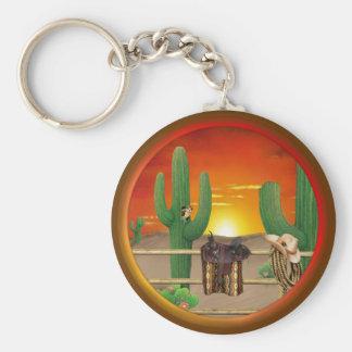 Western Sunrise Basic Round Button Keychain