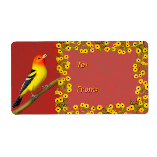 Western Tanager Wild Bird Holiday Gift Label Shipping Label