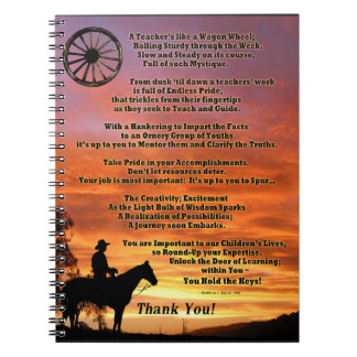 Western Teacher Appreciation Poem Note Books