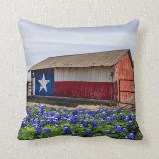 Western Texas Barn And Bluebonnets Throw Pillow