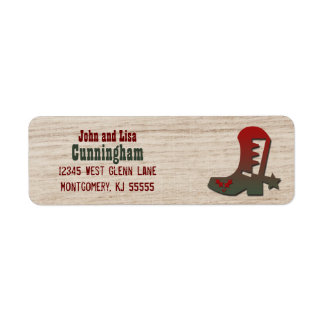 Western Themed Red and Green Holiday Cowboy Boot Return Address Label
