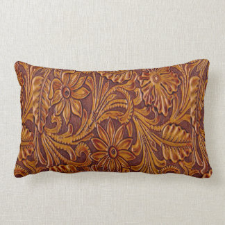 Western Tooled Leather Print Pillow