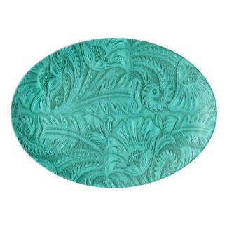 Western Turquoise Tooled Leather print Porcelain Serving Platter