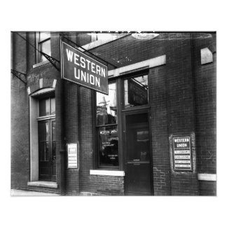 Western Union Old 1930 Black and White Photo Print