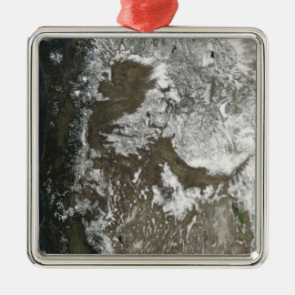 Western United States Silver-Colored Square Ornament