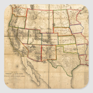 Western United States Territory Map (1858) Square Sticker