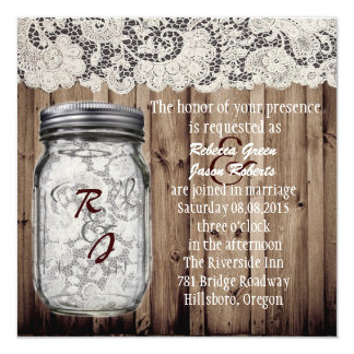 "western vintage barnwood lace mason jar wedding 5.25"" square invitation card"