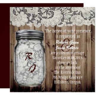 western vintage barnwood lace mason jar wedding card