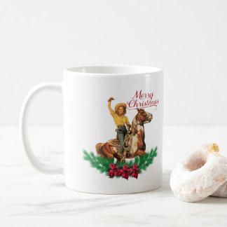 Western Vintage Cowgirl  Horse Merry Christmas Mug