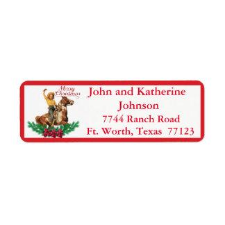 Western Vintage Cowgirl On Horse Merry Christmas 3 Return Address Label