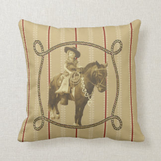 Western  Vintage Cowgirl On Horse Throw Pillow