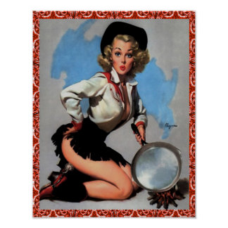 Western Vintage Cowgirl Pin Up With Pan Poster