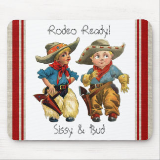 Western Vintage Retro Cowgirl, Cowboy Mousepad