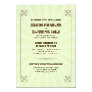 Western Vintage Wedding Invitation (sage)