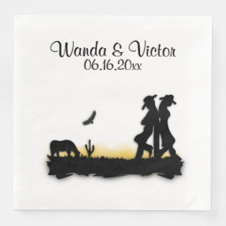 Western Wedding Personalized Paper Napkins