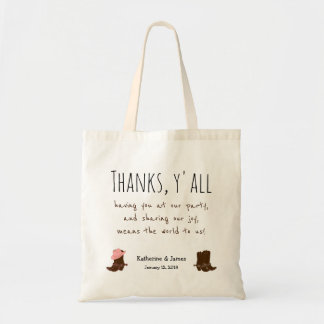 """Western Wedding """"Thanks Bags"""" w/ boots, customize Tote Bag"""