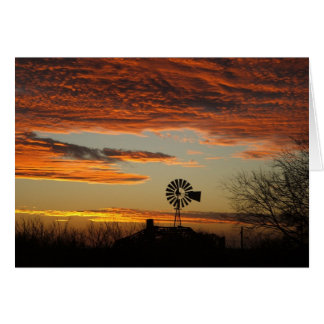 Western Windmill Sunset Card
