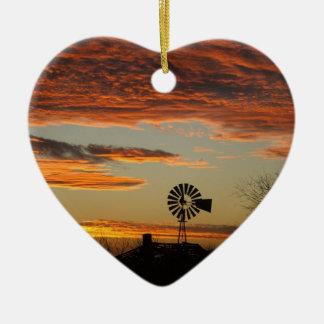 Western Windmill Sunset Ceramic Heart Ornament