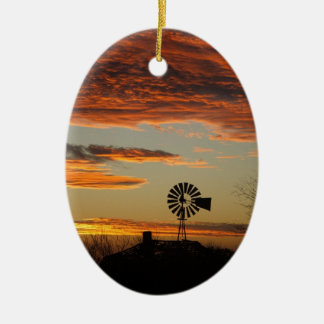 Western Windmill Sunset Ceramic Oval Ornament