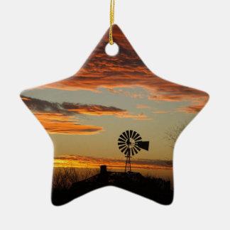 Western Windmill Sunset Ceramic Star Ornament