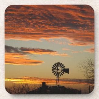 Western Windmill Sunset Coaster