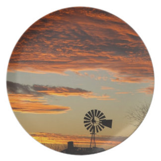 Western Windmill Sunset Dinner Plate