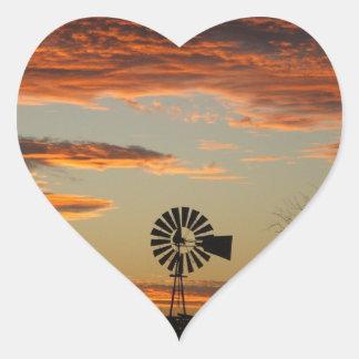 Western Windmill Sunset Heart Sticker