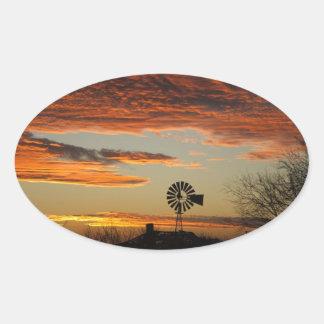 Western Windmill Sunset Oval Sticker