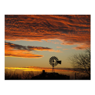 Western Windmill Sunset Postcard