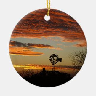 Western Windmill Sunset Round Ceramic Ornament