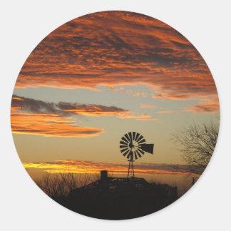 Western Windmill Sunset Round Sticker