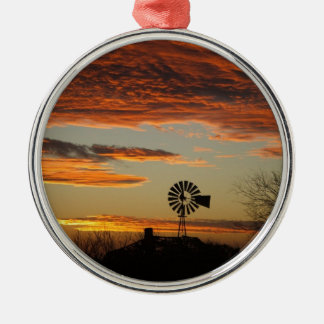 Western Windmill Sunset Silver-Colored Round Ornament