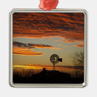 Western Windmill Sunset Silver-Colored Square Ornament