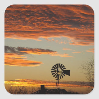 Western Windmill Sunset Square Sticker