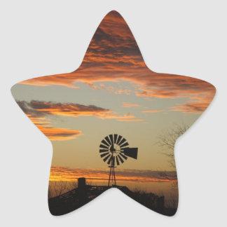 Western Windmill Sunset Star Sticker
