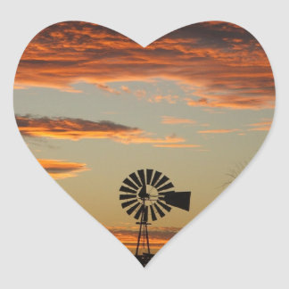 Western Windmill Sunset Stickers