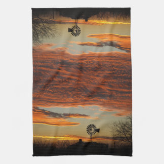 Western Windmill Sunset Towels