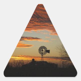 Western Windmill Sunset Triangle Sticker