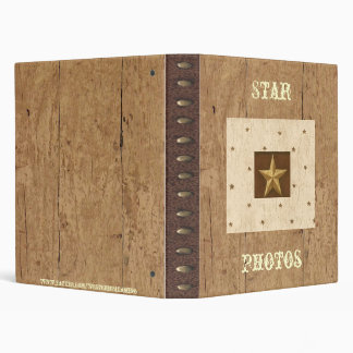 Western Wood/Leather/Star Print Avery Binder
