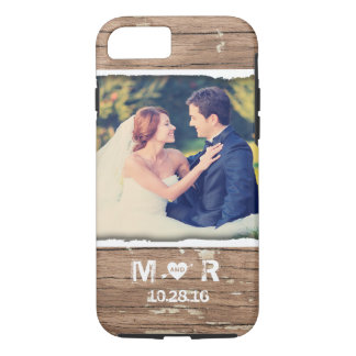Western Wood Rustic Country Wedding Photo Monogram iPhone 7 Case